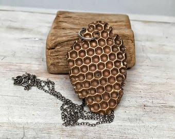 Honeycomb necklace - bee jewelry - solid brass jewelry summer pendant