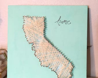 California rustic minimalist string art wall art