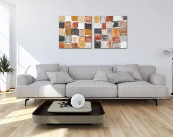 """N I C E Brown - Beige Fine ART """"Cosy design"""" - Two - Part Painting By MartinK. Original Unique Wall Decor For Living Room Office Or Home"""