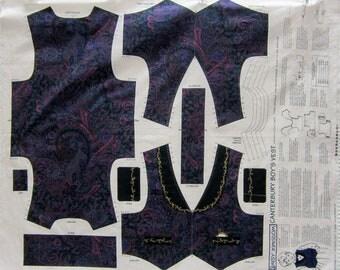 Daisy Kingdom Cantebury Boys Vest Fabric Panel Sizes 2 - 6