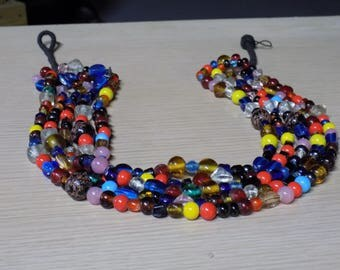 Vintage Glass Bead Necklace Handmade Hippy Colorful Beaded 5 Strand