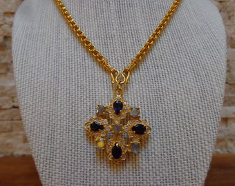 Blue Sapphire and Labradorite necklace in 18K Vermeil 16 inch