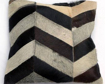 Natural Cowhide Luxurious Patchwork Hairon Cushion/pillow Cover (15''x 15'')a238