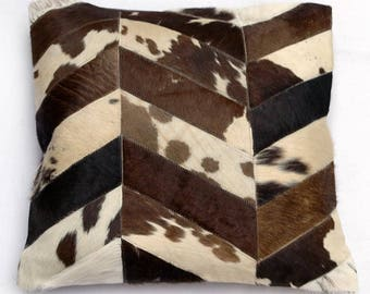 Natural Cowhide Luxurious Patchwork Hairon Cushion/pillow Cover (15''x 15'')a256