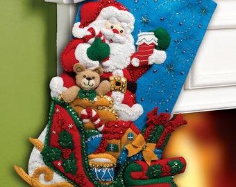 "Bucilla Santa & His Sleigh ~ 18"" Felt Christmas Stocking Kit #86359 New 2012"