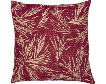 Kantha Cushion Cover - Raspberry red with beige - Medium - 40cm x 40cm