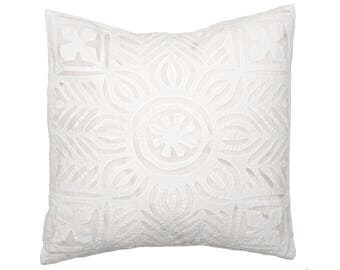 Cushion Cover - White Applique Organdie Backed - Design 10