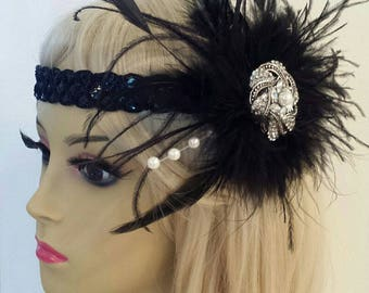 "GATSBY HEADBAND, Black Feather Fascinator With Sequin Headband, Roaring 20s, Downtown Abbey ""LILLY"""