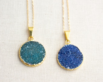 Gold Edged Druzy Pendant Gold Filled Necklace