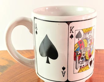 Vintage Intrepur Made in Korea Royal Flush Playing Cards Gambling Coffee Mug. Ace, King, Queen Jack & 10 of Spades. Man Cave. Gift for Him.