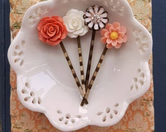 Lucite flower Peach Brick red white Rhinestone daisy hair accessory set of 4 floral bobby hair pin