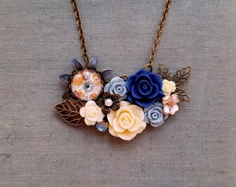 Antique inspired Blue flower assemblage pendant necklace Rustic and shabby chic  necklace