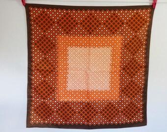 Vintage Mod Scarf Spotty Geometric orange white  66cm x 66cm