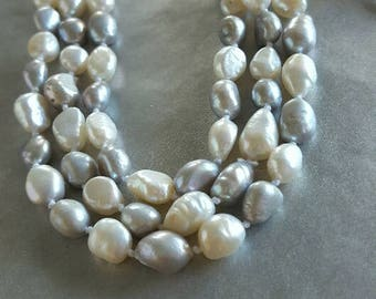 Long Pearl Necklace - Luxurious Necklace - Pearl Jewelry - String Of Pearls - Hand Knotted Fresh Water Pearls - Timeless - Accessories -Gift