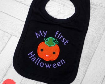 1st halloween, 1st halloween bib, first halloween, halloween bib, embroidered bib, baby bib, pumpkin bib, halloween baby outfit, party wear