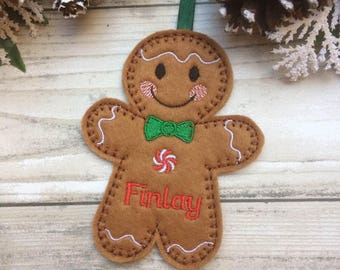 gingerbread man decoration, christmas ornament, personalised christmas decoration, personalised decoration, personalised gift, xmas gift