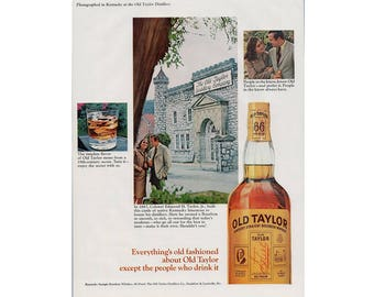 Vintage 1966 poster advertisement for Old Taylor whiskey and Marlboro cigarette - 51