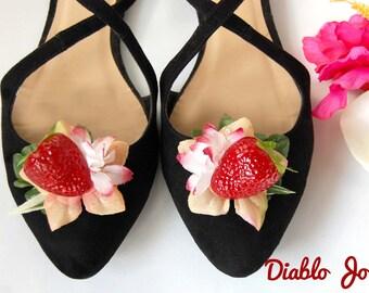 Strawberry Shoe Clips, Fruity, Tropical, Pin Up, Carmen Miranda, Rockabilly, Vintage style