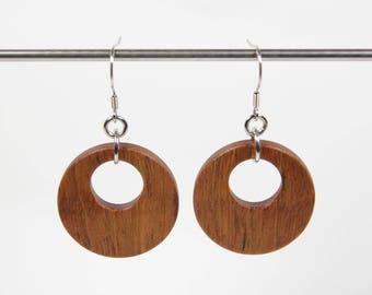 Jatoba Earrings, Wooden Hoop Earrings, Creole Earrings, Wood Earrings, Wooden Dangle Earrings, Wooden Earrings, Wooden Drop Earrings