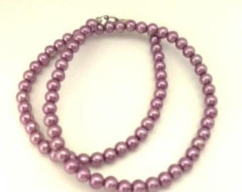 Vintage Necklace Light Purple Pearls Glass Round Beads Wonderful Women
