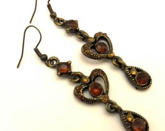 Vintage Women Long Earrings - Oriental Style - Brown Glass Stone - Dark Copper Metal - Openwork