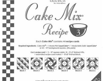 Moda Cake Mix Recipe, contains 44 recipe cards showing how to slice and dice your Layer Cake