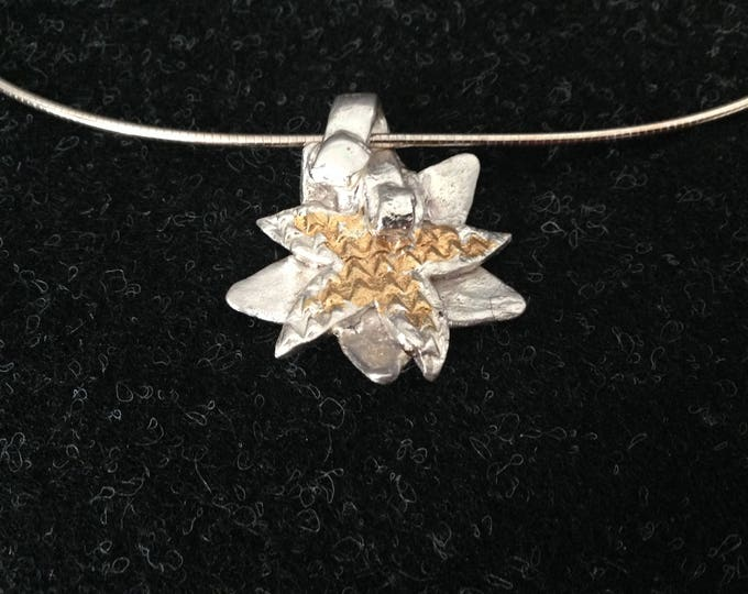 Omega necklace, with unique silver pendant with  fine gold accents, single item