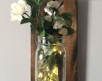 Wall Sconce, Farmhouse Decor, Farmhouse Vase, Lighted Vase, Country Decor, Shabby Chic