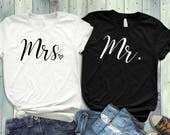 Newly wed shirts  Mr and Mrs Shirt  Honeymoon shirts  Wedding gifts  His and Hers shirt  Couples shirt  Wedding shirt  Wedding T  DGA224