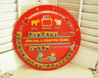 Vintage Spelling and Counting Board Red Plastic Wheel With Wood Block Letters and Numbers Nursery Decor Message Board Great Graphics