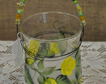 """6"""" hand painted candle holder with beaded handle"""