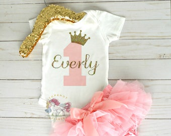 Personalized First Birthday Onesie, 1st Birthday Onesie, Princess Crown Onesie, Pink and Gold Onesie, Birthday Onesie