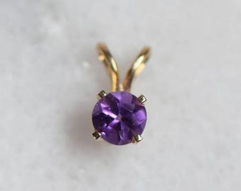 Vintage Birthstone Amethyst 14k Yellow Solid Gold Pendant