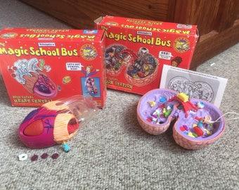 Vintage Magic School Bus Brain and Heart Toy Lot, w/ Original Boxes, Scholastic