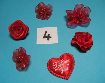 No. 4 satin and organza flower decoration 20 to 30mm x 6 mm diameter