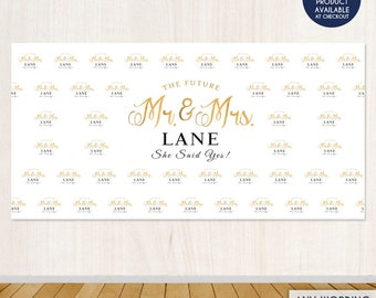 Wedding Party Backdrop - Gold And Black - Step And Repeat Wedding Banner- Photo Booth Banner Wedding Decor Printed Or Printable File