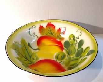 Vintage Enamelware Large Bowl Fruit Floral
