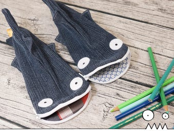 Pencil pouch, Fabio the Shark --- upcycled pencil case, eco freindly, school supplies, kids gift, teacher gift, Handmade by Les Funky