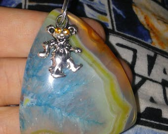 Grateful dead bear pendant necklace. Blue, with yellow agate geode crystal.