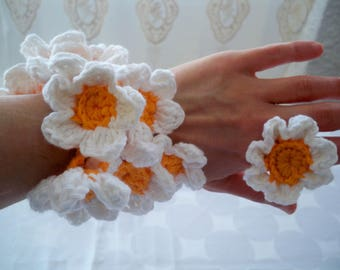 Gemstone chain/bracelet and ring crocheted