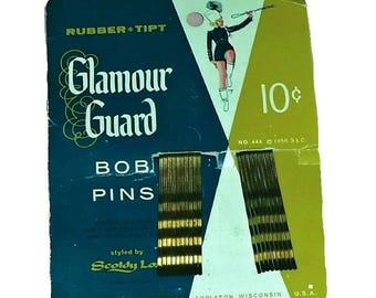 RARE Vintage 50s Bob Pins Hair Pins Glamour Guard Bobby Pins Marching Band Beauty Salon Parlour Advertising Ephemera Vanity Collectible Prop