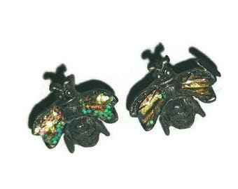 Vintage FLY Earrings Goth Jewelry Fashion 80s Insect Bug House Fly Jewelry Halloween Witch Costume Stud Pierced Earring Post Sarah Coventry