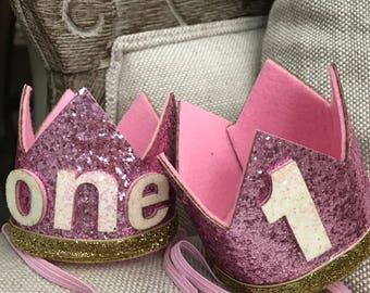 First birthday crowns pink