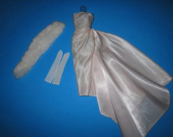 Vintage Barbie First Issue #983 Enchanted Evening 1960 Satin Gown Fur Stole (PayPal Preferred)