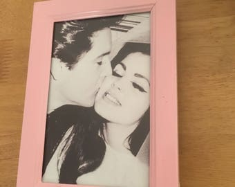 Elvis Presley wedding day print in a baby pink vintage style frame 6x4""