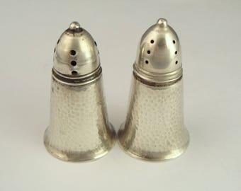 Antique 925 STERLING SILVER Individual Salt Pepper Shakers Hammered Design Cute