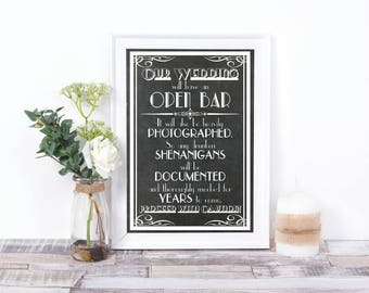 Open Bar Sign, Wedding Bar Sign, Chalkboard, Digital Print, Wedding Decoration, Party Sign