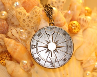 Compass necklace on long chain
