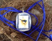 Superb Fairy Wren Pendant Necklace, Cobalt Blue Textured Detail, silver plated bail, hand dyed ink boue 3mm silk ribbon included