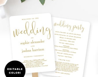 Wedding Program Fan or Flat Wedding Program Templates - Printable Instant Download - Graceful Calligraphy EDITABLE COLOR